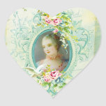 Madame Pompadour Heart Stickers or Seals