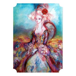 MADAME POMPADOUR Pink Gold Sparkles Costume Party 13 Cm X 18 Cm Invitation Card