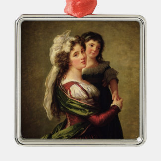 Madame Rousseau and her Daughter, 1789 Silver-Colored Square Decoration