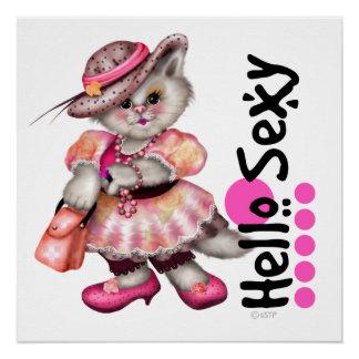 MADAME SEXY CAT 3 CARTOON Perfect Poster pink