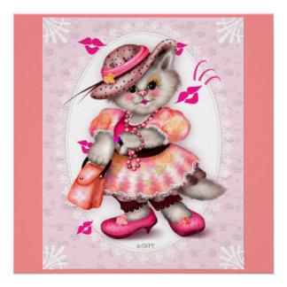 MADAME SEXY CAT CARTOON Perfect Poster pink