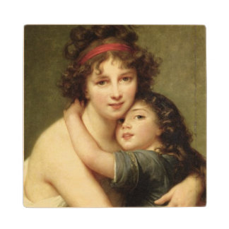 Madame Vigee-Lebrun and her Daughter 2 Maple Wood Coaster