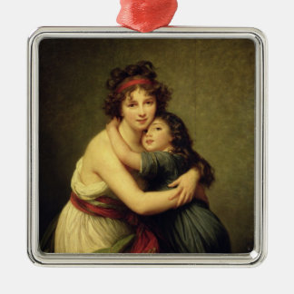 Madame Vigee-Lebrun and her Daughter Silver-Colored Square Decoration