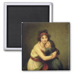 Madame Vigee-Lebrun and her Daughter Square Magnet