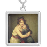 Madame Vigee-Lebrun and her Daughter Square Pendant Necklace