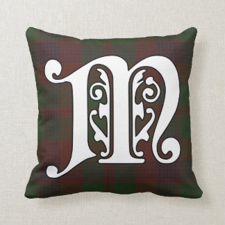 Madder Clan Tartan Monogram Throw Pillow