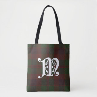 Madder Clan Tartan Monogram Tote Bag