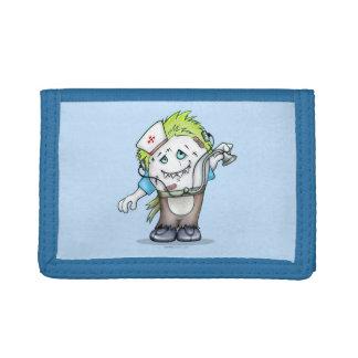 MADDI ALIEN CARTOON TriFold Nylon Wallet BLUE
