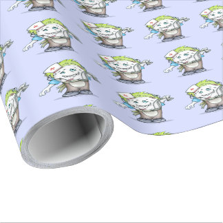 """MADDI Linen Wrapping Paper ALIEN MONSTER 30"""" x 15'"""
