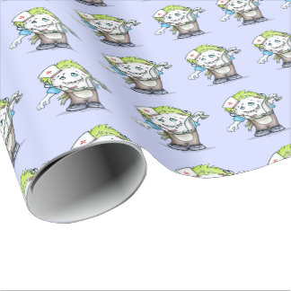 """MADDI Linen Wrapping Paper ALIEN MONSTER 30"""" x 6'"""