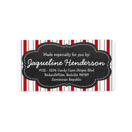 Made for you by  Personalised Red stripes Label