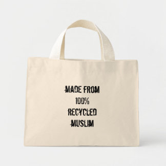made from 100% recycled muslim mini tote bag