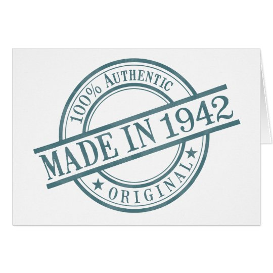 Made in 1942 Round Stamp Style Logo Greeting Card