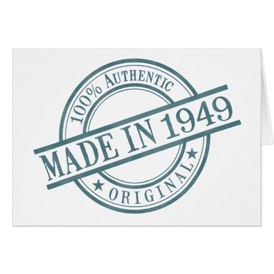 Made in 1949 Round Stamp Style Logo Greeting Card