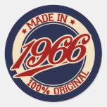 Made In 1966 Classic Round Sticker