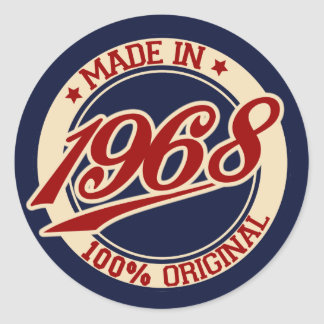 Made In 1968 Classic Round Sticker