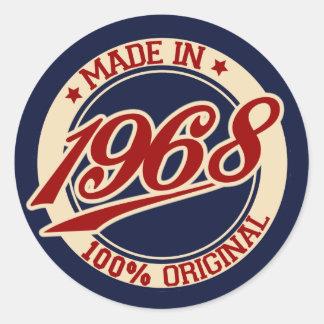 Made In 1968 Round Sticker