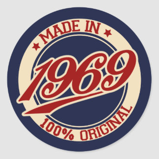 Made In 1969 Round Sticker