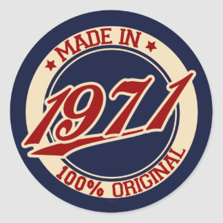 Made In 1971 Round Sticker