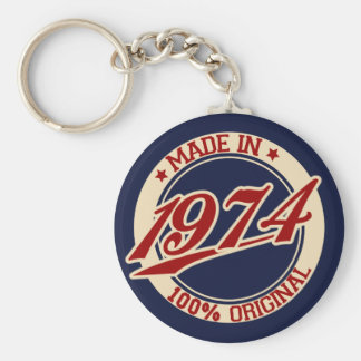 Made In 1974 Basic Round Button Key Ring