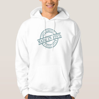 Made in 1975 Round Rubber Stamp Style Logo Hoodie