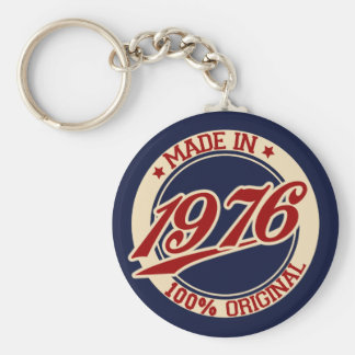 Made In 1976 Basic Round Button Key Ring