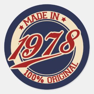 Made In 1978 Classic Round Sticker
