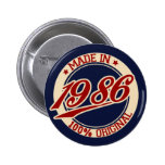 Made In 1986 6 Cm Round Badge
