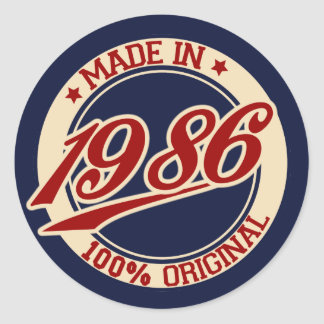 Made In 1986 Classic Round Sticker