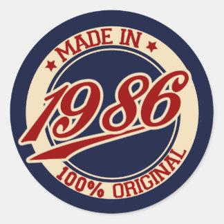 Made In 1986 Round Sticker