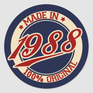 Made In 1988 Classic Round Sticker