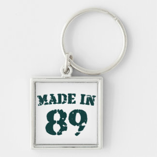 Made In 1989 Silver-Colored Square Key Ring