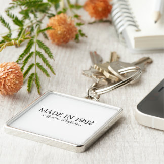 Made in 1992 Silver-Colored square keychain