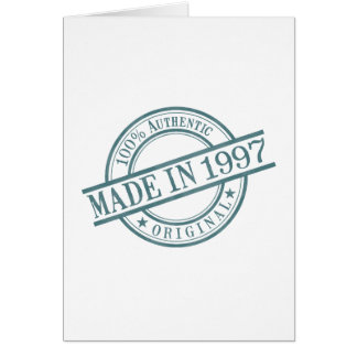 Made in 1997 Round Stamp Style Logo Greeting Card