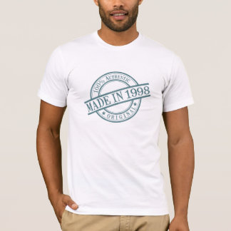 Made in 1998 Circular Rubber Stamp Style Logo T-Shirt