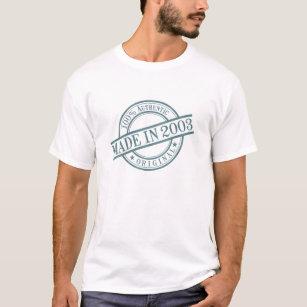 Made in 2003 Birth Year Round Rubber Stamp Logo T-Shirt