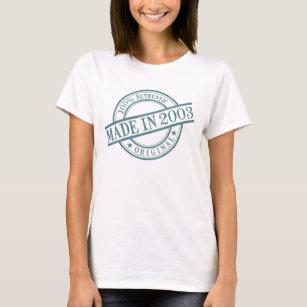 Made in 2003 Circular Rubber Stamp Logo Birth Year T-Shirt