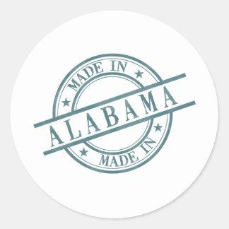 Made In Alabama Stamp Style Logo Green Round Sticker
