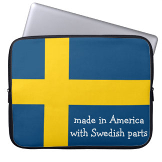 Made in America with Swedish Parts with Flag Computer Sleeve