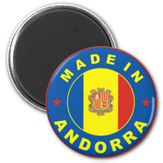 made in andorra country flag label 6 cm round magnet