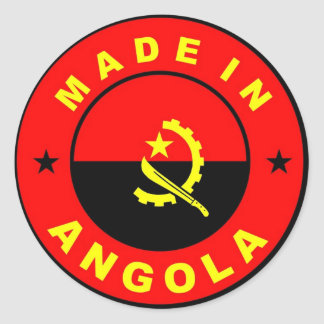 made in angola country flag label round sticker