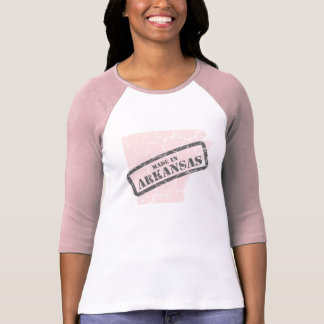 Made in Arkansas Grunge Map Ladies Pink Raglan Tshirts