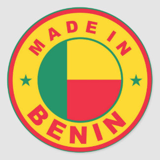 made in benin country flag label stamp round stickers