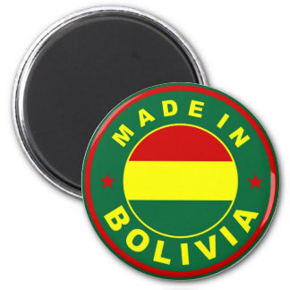 made in bolivia country flag label stamp 6 cm round magnet