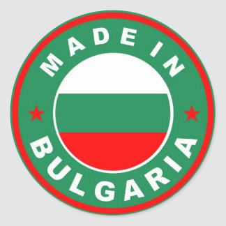 made in bulgaria country flag label stamp round stickers