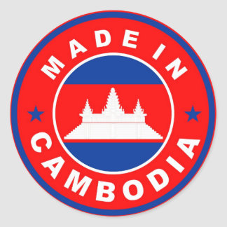 made in cambodia country flag product label round