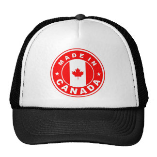 made in canada country flag label round stamp mesh hat