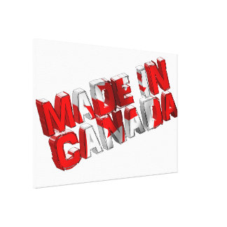 Made in Canada Flag Text Canvas Print