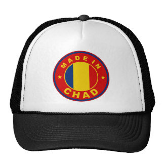 made in chad country flag product label round mesh hat