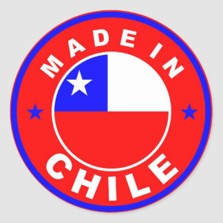 made in chile country flag product label round round sticker